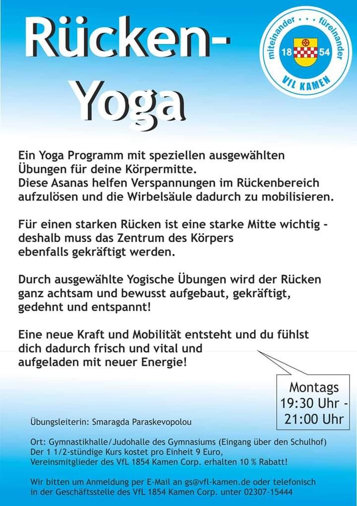Freie Plätze im NEUEN Rücken-Yoga-Kurs